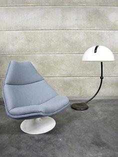 Artifort vintage lounge chair swivel chair / Artifort 'schelp' model F591 Geoffrey Harcourt |