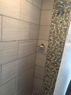 Shower Accent With Sea Green And White Pebble Tile. Https://www.
