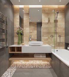 salle de bain moderne grise avec carrelage mural, carrelage mur salle de bain imitation bois beige