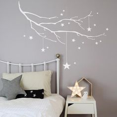 Winter Branch with Stars in White