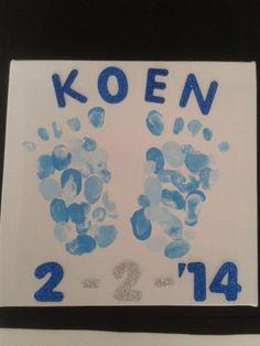 Geboortecadeau namens de klas voor de juf. Met een vingerafdruk van ieder kind.