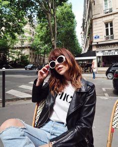 A timeless classic. Influencer Megan Ellaby wears the Balfern Biker