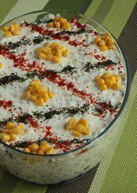 ✿ ❤ ♨ Yoğurtlu Buğday Salatası / malzemeler: 2 su bardağı buğday 500 gr. süzme yoğurt (süzme yoğurt yoksa koyu kıvamlı bir yoğurt tercih etmelisiniz) 1 su bardağı mısır 2 adet salatalık 4-5 adet kornişon turşu 1/2 demet dereotu 1-2 diş sarmısak 1 su bardağı ceviz tuz, pul biber, nane.