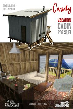 Candy is a charming cabin with an extended front porch and a loft. The loft can be used for sleeping or serve as storage space if you are ok to sleep on the couch downstairs. Micro House Plans, A Frame House Plans, House Plan With Loft, Loft Plan, Loft House, Small House Plans, House Floor Plans, Tiny House Layout, Tiny House Design