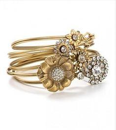 Elizabeth Cole 24kt gold plated swarovski crystal bracelet set via Weddbook