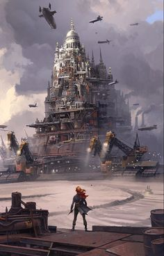 "pixalry: "" Mortal Engines - Created by Ian McQue "" Steampunk Art Fantasy City, Fantasy Places, Fantasy World, Mortal Engines Book, Predator Cities, Steampunk Kunst, Steampunk City, Dark Material, Book Cover Art"