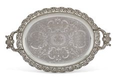 A FRENCH SILVER TWO-HANDLED TRAY, MARK OF ODIOT, PARIS, SECOND HALF 19TH CENTURY | Christie's European Furniture, Antique Silver, 19th Century, Shells, Tray, Monogram, French, Paris, Antiques