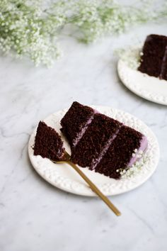 Malted Chocolate Cake with Lavender Oolong Buttercream