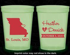 Missouri Wedding, Imprinted Glow Cups, Destination Wedding, State Wedding, Glow in the Dark (124)