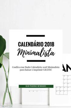 Lindo Calendário 2018 MINIMALISTA para baixar e Imprimir GRÁTIS!