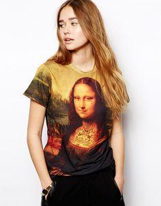 Enlarge Criminal Damage T-Shirt With Mona Lisa Tattoo Print
