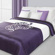 Obojstranný fialový prehoz na posteľ s ornamentom - My site Bed Sheets, Ornament, Pillows, Furniture, Home Decor, Bedspreads, Decoration, Decoration Home, Room Decor