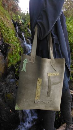 Green leather and suede bag- La fleche collection-