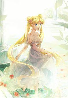 Princess Serenity-Art by Hiyo - Sailor Moon - Best Anime Sailor Moons, Sailor Moon Manga, Sailor Moon Crystal, Arte Sailor Moon, Sailor Moon Fan Art, Sailor Jupiter, Sailor Venus, Neo Queen Serenity, Princess Serenity