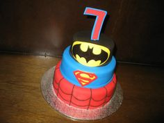 Children's Birthday Cakes - Batman, Superman and Spiderman for a Super Hero birthday party.