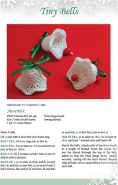 """Tiny Bells to Crochet - adorable Christmas decorations. These are from a Dover book of Christmas decorations to #Crochet."" Enjoy from #KnittingGuru ** http://www.pinterest.com/KnittingGuru"