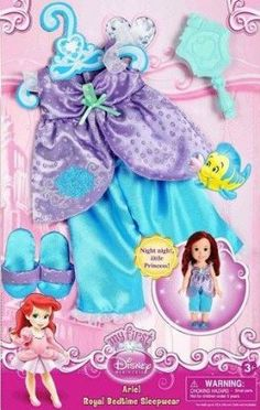 Disney Princess My First Ariel Royal Bedtime Sleepwear Pajama Set by Jakks. $13.00. Disney Princess Doll Clothing. With the Disney Princess Sleeping Outfit, your child can tuck her little Princess in to sleep in her own signature pajama set. Outfit for Disney Princess Ariel Decorated with beautiful ruffles and special sparkly icons fit for royalty