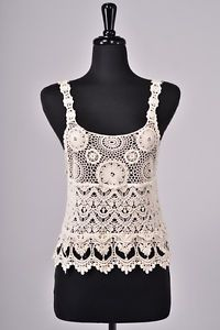 Boho Crochet Tank Top Blouse Shirt Unlined Cotton Camisole Cami Ivory New Sz M | eBay
