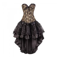 Black and Gold Lace Corset with Layered Black Flock Skirt