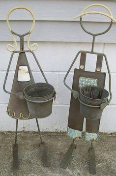 Worn Metal Plant Stand Girl & Boy Flower Pot Holder