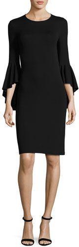 Michael Kors Flounce-Sleeve Matte Jersey Dress, Black