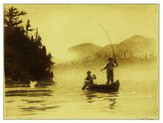 Taking Line, Canoe fishing etching by Brett J Smith www.brettsmith.com