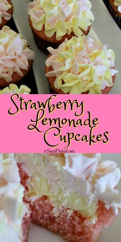 Just in time for Spring, Easter, and Mother's Day, here's a perfect compliment to any celebration. Strawberry Lemonade Cupcakes have a moist strawberry cupcake with a smooth creamy lemon pudding filli Strawberry Cupcake Recipes, Strawberry Lemonade Cupcakes, Cupcake Flavors, Cupcake Filling Recipes, Strawberry Cupcakes With Filling, Cupcake Recipe Easy, Cupcake With Filling, Homemade Cupcake Recipes, Köstliche Desserts