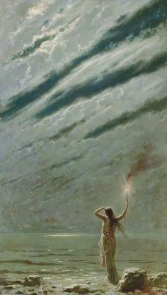 ✳︎༺ My Melancholic Diary ༻ novel by Iva Kenaz - moods ✳︎ The Guiding Light, Andrea Fossati. Italian (1844 - 1919)