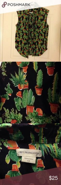 Obey Cactus Buttondown tank Buttondown tank by obey. Cactus print. Excellent condition. Obey Tops Tank Tops