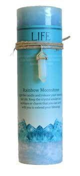 Life Pillar Candle With Rainbow Moonstone Pendant