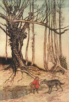"""Little Red Riding Hood, The Wolf  Source: illustration to a fairy tale """"Little Red Riding Hood""""  By: Arthur Rackham. #boden #magical menagerie"""