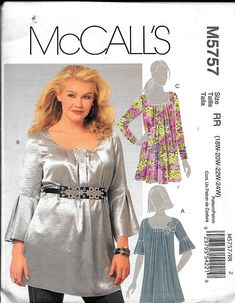 McCall's M5757 Misses' Tunics Top Sewing Pattern 5757 Plus Size 18W, 20W, 22W, 24W UNCUT