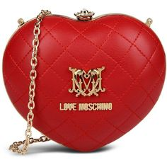 Love Moschino Clutch ($175) ❤ liked on Polyvore featuring bags, handbags, clutches, borse, red, metallic purse, red quilted handbag, red purse, red handbags and love moschino