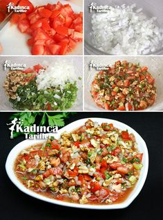 Gavurdağı Salad Recipe, How to Make - salata Salad Menu, Salad Dishes, Easy Salad Recipes, Easy Salads, Crab Stuffed Avocado, Cottage Cheese Salad, Turkish Recipes, Ethnic Recipes, Seafood Salad