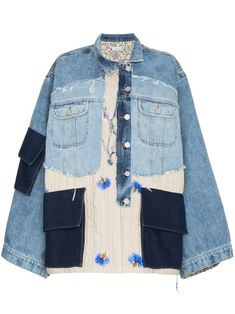Check out Natasha Zinko with over 1 items in stock. Shop Natasha Zinko oversized patchwork quilted cotton denim jacket today with fast Australia delivery and free returns. Jean Jacket Outfits, Women's Denim Outfits, Estilo Jeans, Denim Ideas, Denim Patchwork, Creation Couture, Denim Fashion, Diy Clothes, Textiles