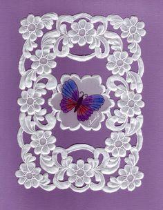 Mes parchemins - ptitegentiane - Веб-альбомы Picasa Vellum Crafts, Paper Crafts, Parchment Design, Parchment Cards, Lace Painting, Table Runner And Placemats, Quilling Art, Purple Backgrounds, Cutwork