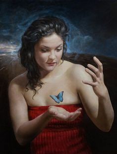Artist: Terje Adler Mørk (b.1949), oil on canvas {contemporary figurative artist female with butterfly woman painting}