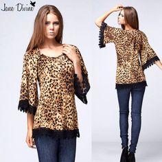 Fall Fashion, The Cat's Meow Leopard Print Crochet Trimmed Top by Jane Divine Boutique www.janedivine.com