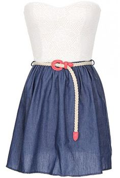 The Milan Strapless Dress With Belt $29.00