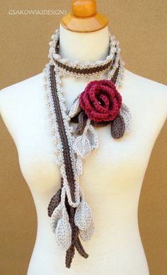 Wild Rose Scarf Lariat Rose nr 2 by gsakowskidesigns on Etsy