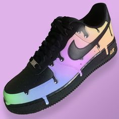 Nike Air Force One (Sherbet Drip) by stickymurphycustoms Cute Nike Shoes, Black Nike Shoes, Cute Nikes, Nike Air Shoes, Nike Sneakers, Painted Sneakers, Painted Shoes, Jordan Shoes Girls, Fresh Shoes