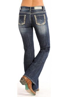 Rock And Roll Cowgirl Juniors Riding Boot Cut Jeans Urban Western Wear Low Rise Bootcut Jeans, Geometric Embroidery, Juniors Jeans, Top Stitching, Western Wear, Rock And Roll, Riding Boots, How To Wear, Clothes