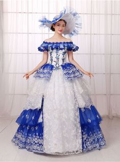 royal blue white ruffled flower embroidery ball gown Medieval Renaissance Gown…