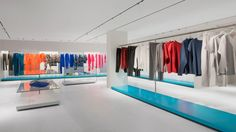 Tokujin Yoshioka, the Tokyo-based architect who has created interiors of many Issey Miyake boutiques across the planet, has designed a setting that hinges on an intricate balance between a futuristic aesthetic with clean lines, captured by coloured aluminum panels, and the building's original architectural details.