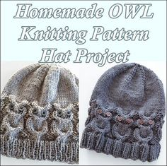 "Homemade OWL Knitting Pattern Hat Project Homesteading  - The Homestead Survival .Com     ""Please Share This Pin"""