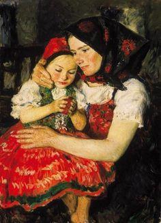 Glatz, Oszkár (1872-1958), Mother and Child, oil on canvas, Date: 1922
