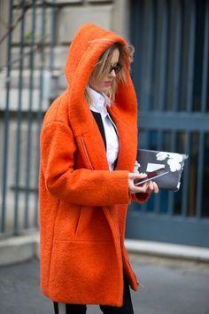 Bold orange coat // street style