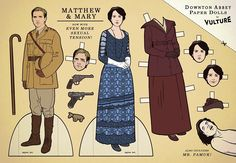 Downton Abbey, Matthew & Mary paper dolls -- the inclusion of Mr. Pamuk is priceless
