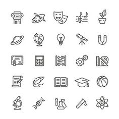 School subjects related icons: thin vector icon set, black and white kit - Buy this stock vector and explore similar vectors at Adobe Stock Free Icons Png, Vector Icons, Vector Stock, Adobe, Black And White Instagram, School Icon, Iphone App Design, Settings App, Simple Icon