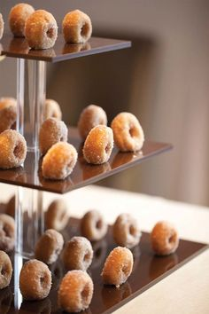 Mini donuts: http://www.stylemepretty.com/living/2014/02/27/bite-sized-party-food/